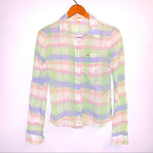 Hollister Plaid Pastel Button Down Shirt